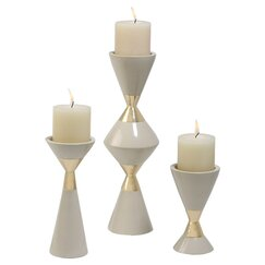3 Piece Hourglass Candlestick Set