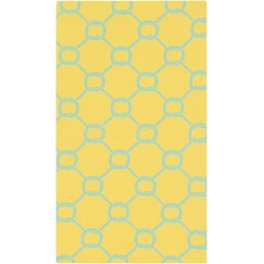 <strong></strong> Rope Trellis Lemon Outdoor Rug