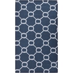 <strong></strong> Rope Trellis Navy Outdoor Rug