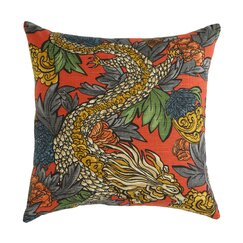 <strong>DwellStudio</strong> Ming Dragon Persimmon Pillow