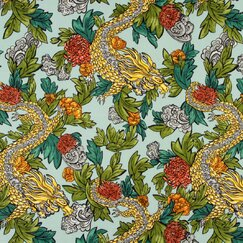 <strong>DwellStudio</strong> Ming Dragon Fabric - Aquatint