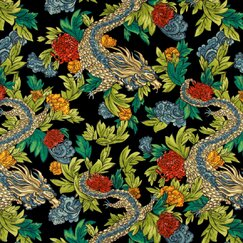 Ming Dragon Fabric - Admiral