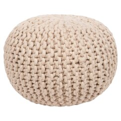 <strong></strong> Braided Wool Natural Pouf