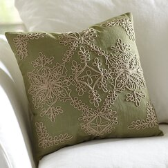 Mia Embroidered Pillow Cover, Fern