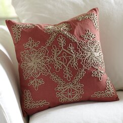 Mia Embroidered Pillow Cover, Brick