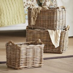Rattan & Rope Baskets (Set of 3)