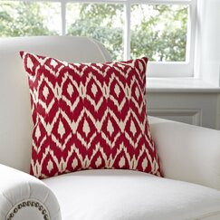 Tara Ikat Cotton Pillow Cover, Red