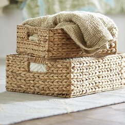 <strong></strong> Rectangular Rattan Baskets (Set of 2)