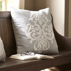 Leah Cotton Pillow Cover, Pewter & White