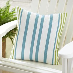 Jenna Indoor/Outdoor Striped Pillow, Pool/Citrus