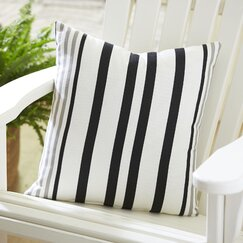 <strong>Birch Lane</strong> Jenna Indoor/Outdoor Striped Pillow, Black/Pewter