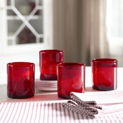 Cerise Old Fashioned Lowball Glasses (Set of 4)