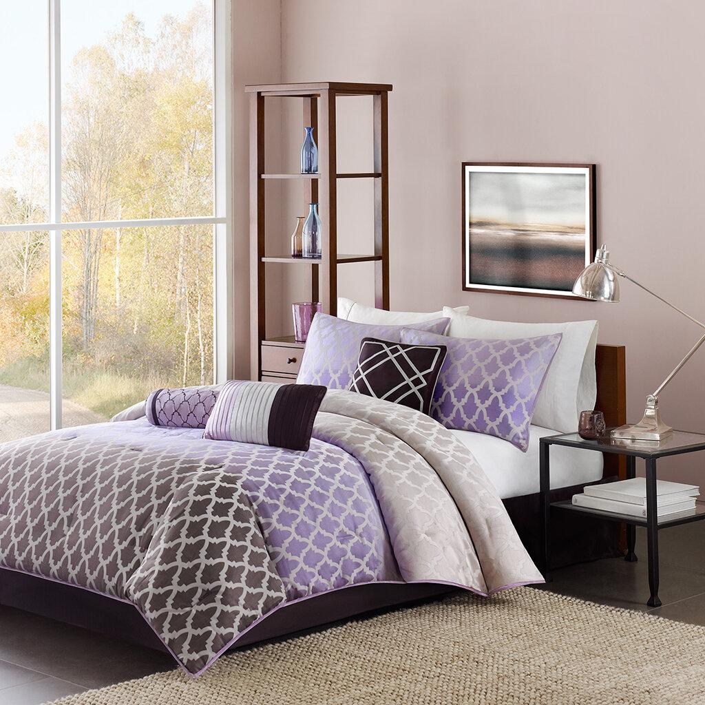 Purple Gray Geometric Print 7pc Comforter Set